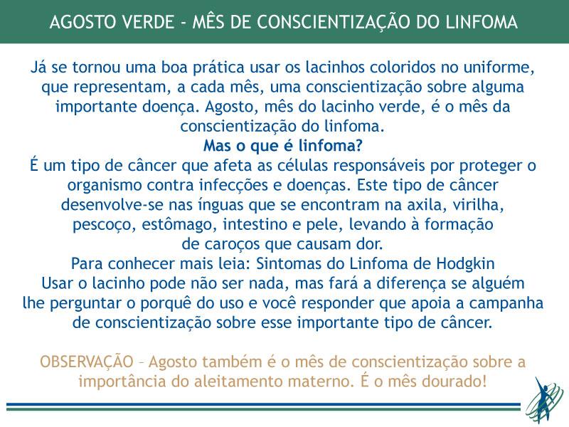 Agosto Verde – prevenção e combate ao Linfoma
