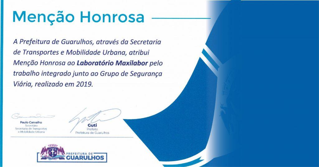 MAXILABOR RECEBE MENÇÃO HONROSA DA CIDADE DE GUARULHOS